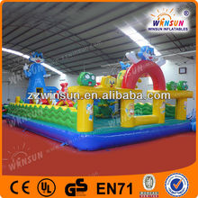 Air bumper up inflatable cat bounce equipment with wave guardrail
