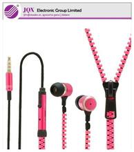 2014 Hot sell zipper earphone, zipper handsfree