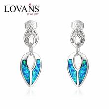 925 Sterling Silver Simple Design Latest Cute Girls Blue Opal Beaded Earrings SEI128W