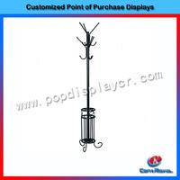 Custom showroom stand metal floor standing clothes tree hanger coat rack