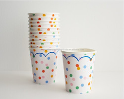 Blue pink red and White polka dots Paper Party Cups Party Tableware