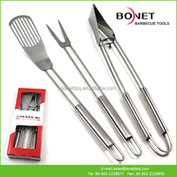 QPB0070 BBQ Set Stainless Steel Fork Spatula Tong In Paper Box