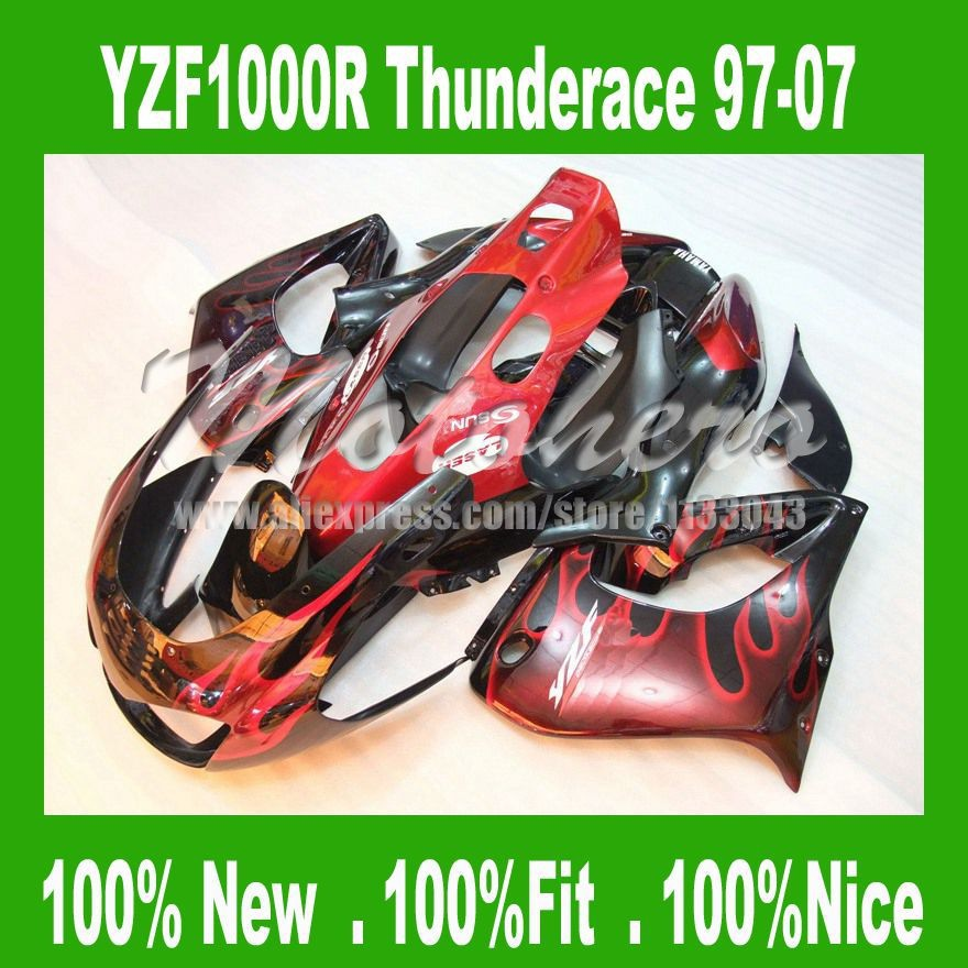 Fairing kit for YAMAHA Thunderace YZF1000R 1997-2007 YZF 1000R 97-07 97 98 99 00 01 02 03 04 05 06 07 red flame BLK fairings kit