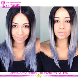 Factory direct supply ombre wigs with grey hair 2016 hot sale grey wigs wholesale cheap grey human hair wigs