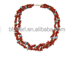 """wholesale 17"""" 2 row 5-7mm irregular natural coral necklace"""