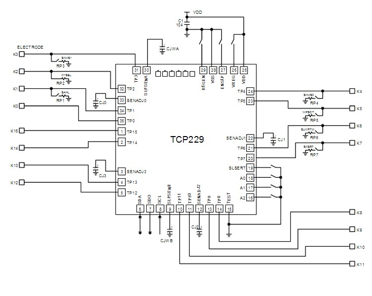 ttp229 16 channel capacitive touch switch digital touch