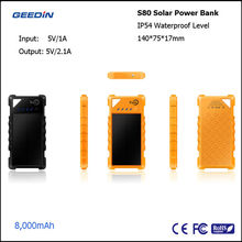 solar powered phone charger solar power bank charger external battery case by geedin S80