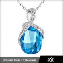 Fashion Jewelry 2015 Heart of the Ocean Necklace,Big Natural Gemstone Pendant Design