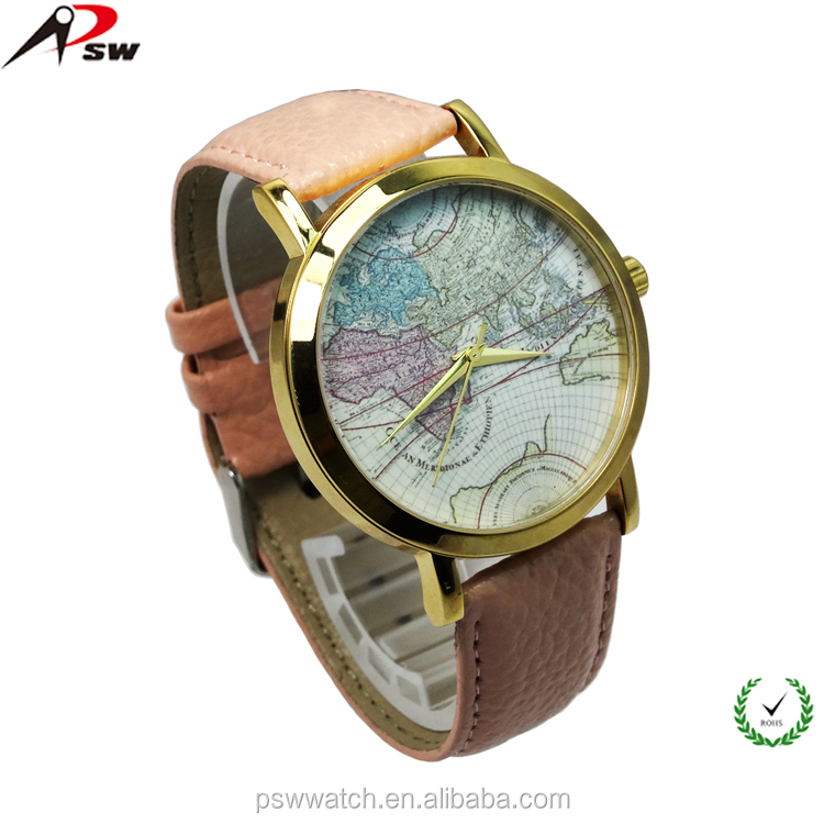 Genuine leather strap world map face japan movt quartz watch stainless steel