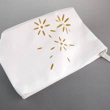 Laser cut white hollow organizer women wallet cosmetic bag