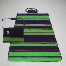 Printed Stripe Polar Fleece and Oxford Camping Throw, Waterproof Picnic blanket, Portable outdoor Blanket