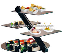 4 Tiers Stainless Steel Buffet Stand/Display Food Stand/Cake Stand With Glass