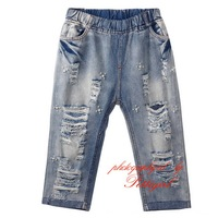 Korea Style Girl Jeans Casual Pants with Holes Long Trousers with Pearl Ornament Children Clothes PT80718-2