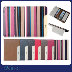 For ipad case,luxury genuine leather tablet case for iPad Air /air 2 with wristband