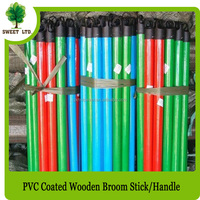 wooden broom brush stick wooden handle pole with PVC coated single design