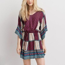 cinched patchwork soft braided tie fit flare boho dress
