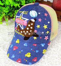New design cowboy baseball cap, sun hat with star, mesh hat for child