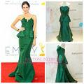 2014 de haute qualité de vente chaude vert émeraude sirène en taffetas ruché Peplum robe de célébrité Robes de soirée turque
