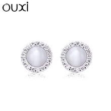 Exquisite women silver earrings design diamond stone earrings for party girls