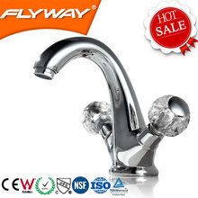 Double lever cold and hot water ware basin faucet bathroom