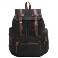 Mens Canvas Leather College School Bookbag Laptop Bag Rucksack Backpack Daypack