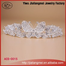 Wholesale good quality alloy butterfly hair piece crown for girls