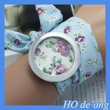 HOGIFT Fashion Geneva Watches/Fabric Rose Flower Bracelet Watches