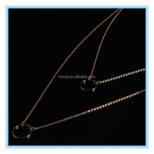 Fashion Jewelry Two Round Pendants Long Double Chian Necklace
