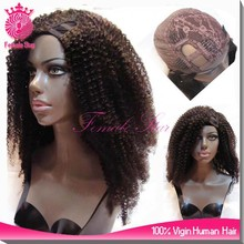 18inch 150% density malaysian virgin kinky curly machine made u part wig