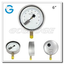 High quality stainless steel 6inch precision test gauge with bottom connection