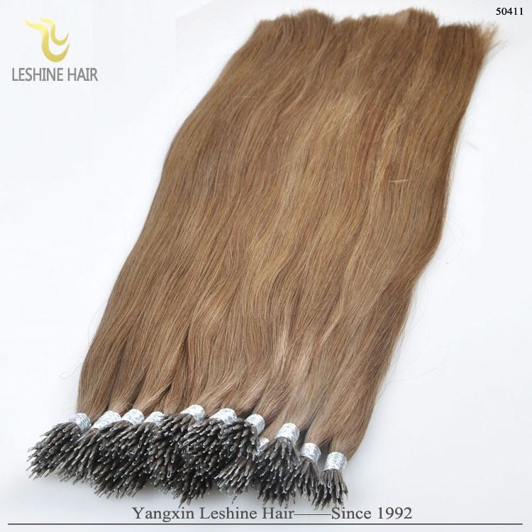 Best selling 100% grau 7A cabelo humano brasileiro extensão do cabelo remy duplo drawn cabelo anel nano