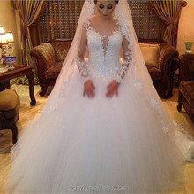 DL-356 Royal Princess Gowns Flully Ball Gown Wedding Dresses Lace Wedding Dresses Long Sleeves sixe arabe wedding dress