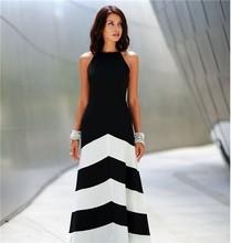 Fashion Lady Dress 2015 Sexy Spaghetti Strap Black White Color Block Striped Thin Maxi Dresses For Women