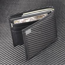 Guangdong top quality fibre genuine leather holder carbon fiber men wallet wholesale