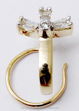 18k gold diamond nose pin, Bling Real Diamond 3 Stones Fancy Nose pin, Real diamond fancy nose ring supplier