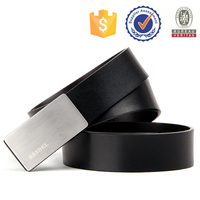 NO MOQ factory retail plate buckle genuine leather belt for men