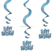Blue Value Pack Happy Birthday & Congratulations Party Foil Swirl Hanging Decorations