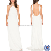 Western party wear white backless evening dress back open sexy beautiful halterneck fishtail evening dress