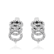 Women's Circle Earrings in Real 925 Sterling Silver with Zircons