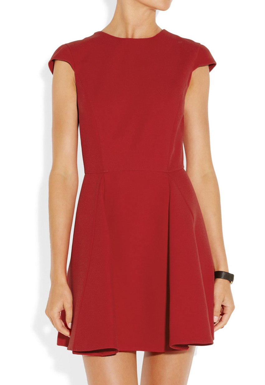 women fashion cap sleeve backless casual dress with contrast