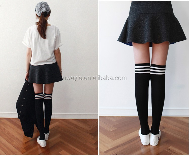 Girl Student School Fashion Sexy Compression Cotton Knee ...