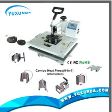 high quality Sublimation 9 in 1 combo heat press machine for printing T-shirt shoes plate cap and shoes