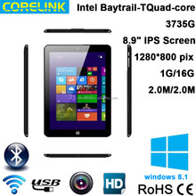 Intel Quad core 1.8GHz 2.0M capacitive 1280*800 IPS WIFI Windows 8.1 tablet pc 8.9inch