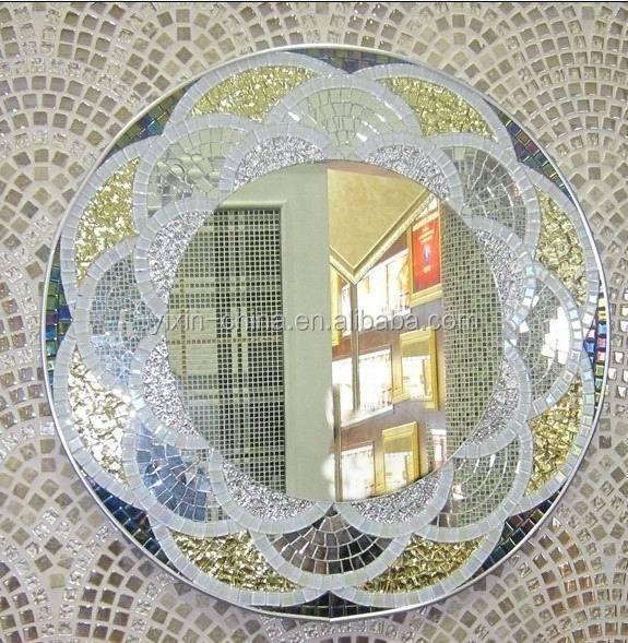 Templado de lujo de plata del mosaico de baldosas de for Espejos con marco de cristal