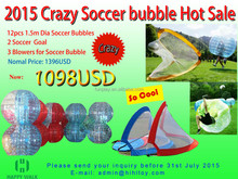 HI hot sales set(12pcs ball,3blower and 2soccer goal) bubble football, inflatable ball suit,roll inside inflatable ball