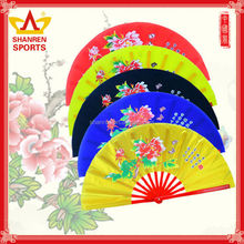 Chinese bamboo folding fan with pouch