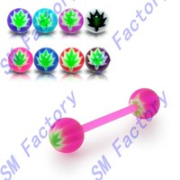 10 pieces assorted color flexible straight barbell with uv marijuana ball tongue piercing rings --SMSD329066