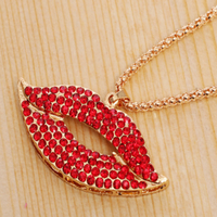 2015 Gold Plated Imitation diamond pendant sexy red lips long necklace full drill lips sweater chain decoration necklace