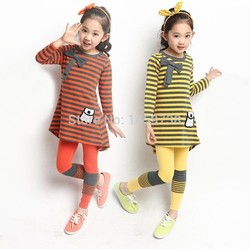 New 2015 Autumn and winter Europe and the leisure suits girl long sleeve stripe T-shirt + leggings Children clothes