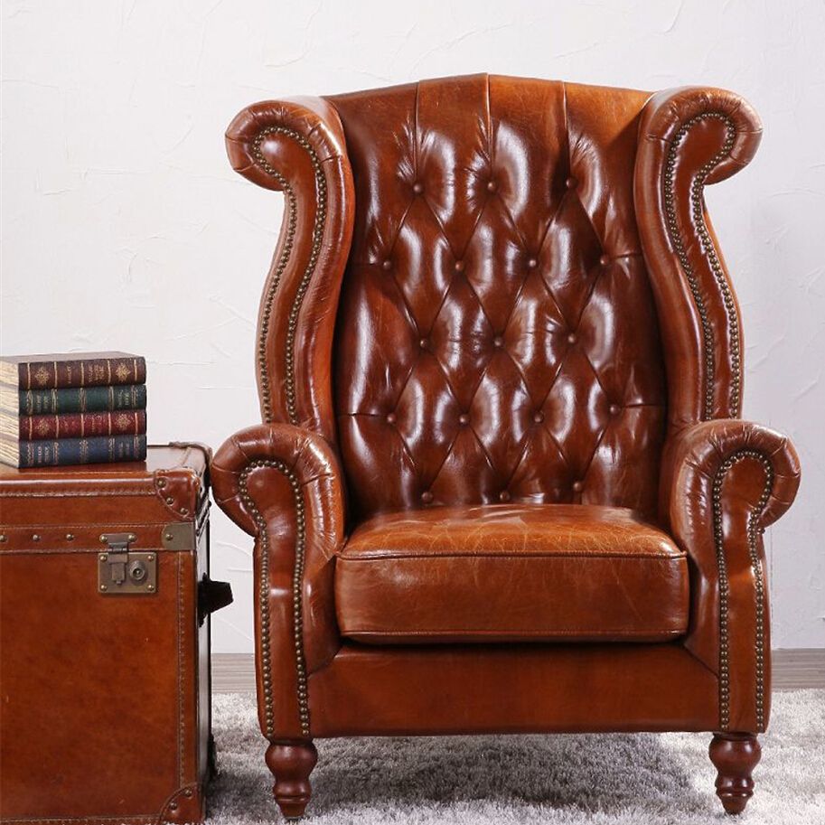Vintage Wing High Back Armchair In Tan Leather